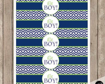 "Oh Boy Water Bottle Labels ""Oh Boy""  Printable Instant Download  Water Bottle Wrap  OBLN"