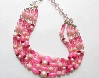 Pink Karu Arke Necklace Pink Multi-Strand Bib Necklace Vintage Pink Necklace Summer Jewelry