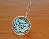 Mint Green Doily Wall Hanging, 4 inch Crochet Doily in Wrapped Metal Hoop, Dream Catcher Starter