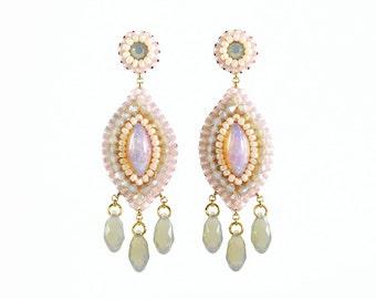 Blush earrings | blush bridal earrings | blush wedding earrings | blush dangle earrings | gift for her | pink earrings | wedding jewelry