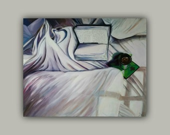 ANOTHER THOUGHT - Original Oil    (from MY Bed Series) - signed by the DanaC  (bed, book, pillow, coffee, cup, sheets)