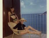 "Vintage Color Photo ""Hawaiian Vacation"" Girl Woman Bathing Suit Swimsuit Snapshot Photo Photograph Found Paper Ephemera Vernacular - 166"