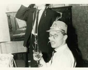 "Vintage Photo ""Pig Nosed Partier"" Snapshot Photo Old Antique Photo Black & White Photograph Found Photo Paper Ephemera Vernacular - 126"