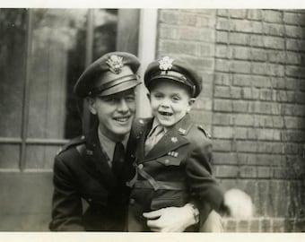 "Snapshot Photo ""Just Like Dad"" Military Vintage Photo Antique Photo Old Black & White Photograph Found Photo Paper Ephemera Vernacular - 190"