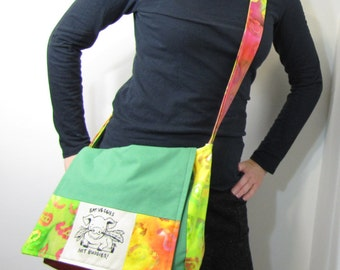 Vegan Patch Messenger Bag Eat Veggies Not Buddies