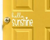 hello Sunshine Vinyl Door Decal - Front Door, Hello Home Office Decor, Custom Vinyl Decals, Hello Sunshine Vinyl Decal, Vinyl Company 7.85x5