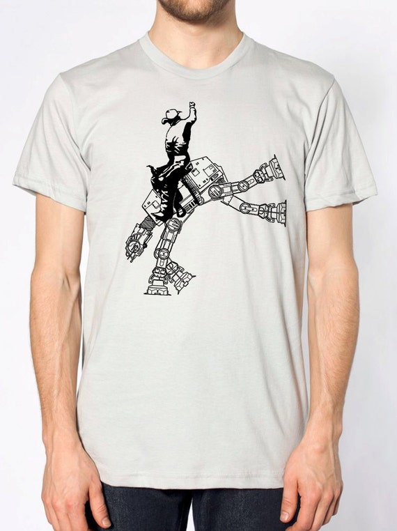 star wars AT AT cowboy parody on mens shirt- american apparel silver, available in s,m, l, xl,xxl -worldWide Shipping