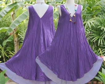 SALE, V Neck Sleeveless Cotton Summer Dress, Loose Fit Maternity Dress in Dark Purple, XL