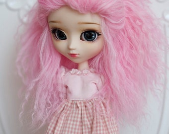 1/3 Size Pink Tibetan Mohair Wavy Wig for Volks BJD SD and Pullip Dolls