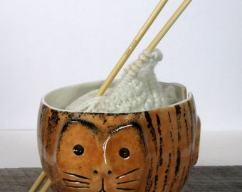 Cat Yarn bowl Knitting bowl  Knitter gift Ready to ship
