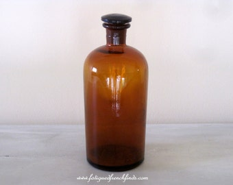 Vintage French Amber Glass Apothecary Jar Bottle With Glass Stopper