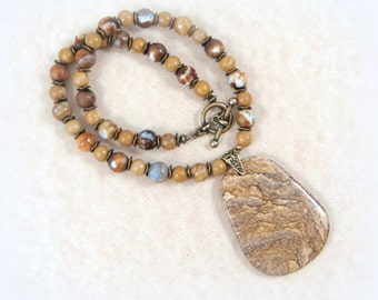 Picture Jasper Pendant - Rustic Jasper Pendant Necklace - Beaded Pendant Necklace - Beige, Brown & Tan Necklace with Toggle Clasp
