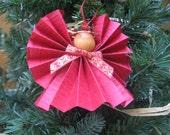 Dark Red Angel Christmas Ornament, Red & Gold Ribbon Trim, Red Paper Ribbon Angel, Tree Ornament, Paper Angel, Secret Santa SnowNoseCrafts