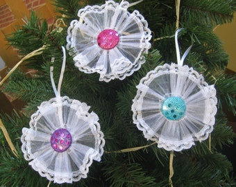 White Lace Ornaments, Set of THREE, Tree Ornaments, Pink Turquoise Purple Tree Decor, Christmas Ornaments, Tree Decor, Lace SnowNoseCrafts
