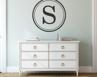 Circle Monogram Single Initial Vinyl Wall Decal - Personalized Letter Vinyl Lettering Double Circle Border Personalized Wall Decor