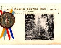 Souvenir Founders' Week 1908, Philadelphia Pennsylvania Vintage Used Postcard