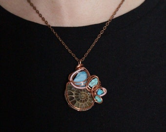 Ammonite Necklace Turquoise and copper