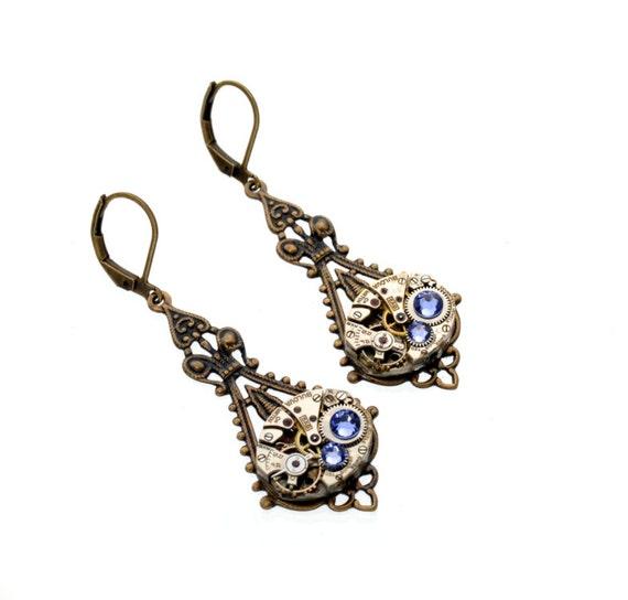 DECEMBER Steampunk Earring, TANZANITE Steampunk Wedding Earrings, Dangle Earrings, Antique Brass Steampunk Jewelry by VictorianCuriosities