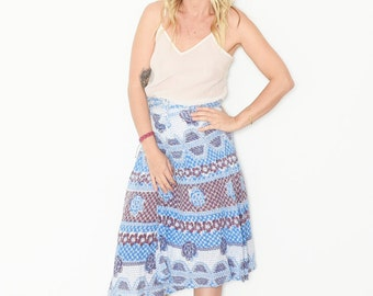 Vintage 70s India Block Printed Wrap Skirt