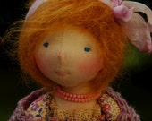Leonie Waldorf Inspired Doll OOAK Natural Fiber Art Doll  with Genuine Coral Necklace  by Atelier Lavendel 8 in ECO friendly Collectible
