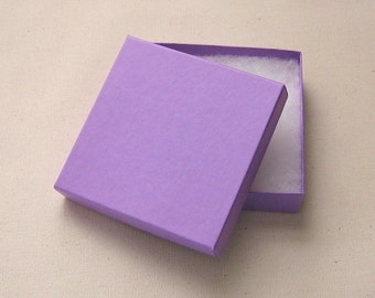 Matte Purple Cotton Filled Jewelry Boxes High Quality 3.5 x 3.5 x 7/8 inch - 10 Large