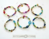 Brass, African Glass, Buddha And Skull, Beaded Bracelets ~ One Of A Kind ~ Free Shipping U.S.