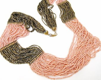 Vintage Multi Strand Beaded Necklace, Seed Bead Necklace, Coral Gold Jewelry