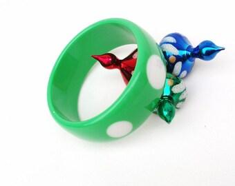 Vintage Poka Dot Bracelet Green White Bangle Lucite Art Jewelry Hipster Cuff Bracelet