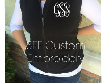 Personalized Ladies Embroidered Monogramed Fleece  Vest FRONT monogram Included