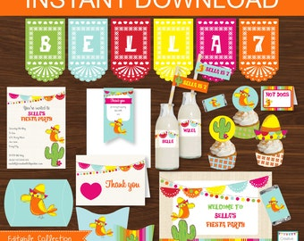 Mexican Fiesta Party DIY Printable Kit - INSTANT DOWNLOAD