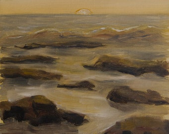 Calm Sunset, plein air, landscape oil painting