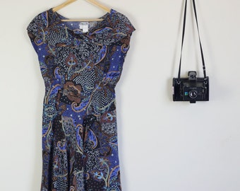 Vintage 90s Blue and Brown Pattern Midi Dress Floral Summer Picnic