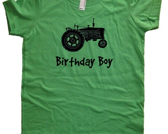 Birthday Shirt Tractor Kids Farm Farming Tractor Birthday Boy Tee - Multiple Colors - Kids Tshirt Sizes 2T, 4T, 6, 8, 10, 12 - Gift Friendly