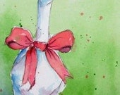 """CHRISTMAS GOOSE Original Watercolor ACEO 2.5"""" X 3.5"""" *Reserved for smilelylj*"""