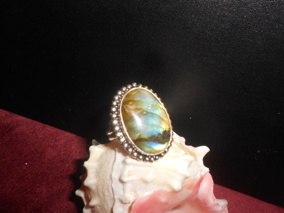 Labradorite Ring Black Moonstone Sterling Silver