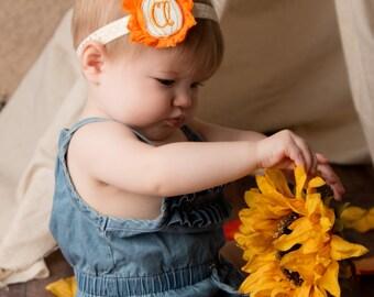 Pumpkin patch headband - Fall baby headband - Monogram headband - Personalized baby headband - Personalized fall headband
