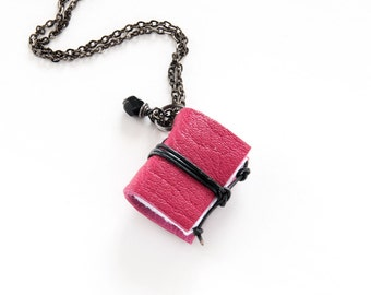 Miniature book necklace jewelry literature, leather necklace pendant, steampunk necklace, for her bookwom book lover teacher librarian