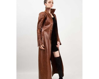 Vintage leather trench coat / Fully reversible long patchwork coat / The Matrix coat XS S