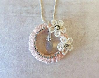Peach Ring Swarovski necklace