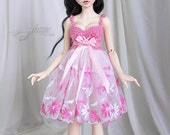 OOAK Pink & white dress for MSD