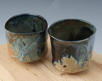 Set of Two Blue to Black Tea Cups #04, Yunomi, Tea Cup, Whiskey Cup, Pottery Cup