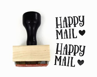 Rubber Stamp Happy Mail NEW - DIY Snail Mail Packaging - Wood Mounted Stamp