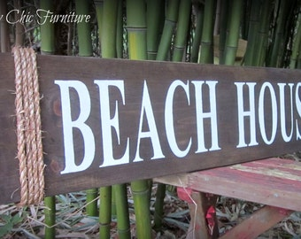 Beach House Sign ~Wall Decor~Coastal Nautical Home~Jute Rope
