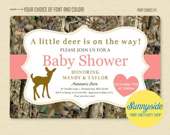 Little Deer / Doe Pink Camo / Camouflage Baby Girl Shower Invitation - Printable Invite