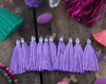 "Tassel Ten Pack in Lavender, Art Silk Jewelry Tassels from India, 2"" Mala Tassels, Yoga Jewelry Making, Craft Supplies, Purple Fall Fashion"
