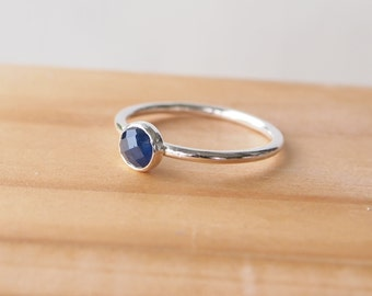 Sapphire Ring - Sterling Silver and Sapphire Ring - September Birthstone Jewelry - Stacking Birthstone Ring - Blue Sapphire Gemstone Jewelry