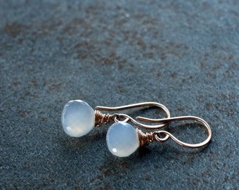 AA Turkish chalcedony and rose gold fill drop earrings