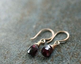 garnet and gold fill drop earrings