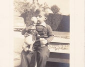 I Love You, Donald Duck- 1940s Vintage Photograph- Little Boy- Stuffed Animal- Kiss on the Cheek- Favorite Toy- Found Photo- Paper Ephemera