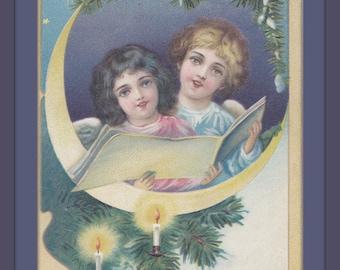 Christmas Angels- 1900s Antique Postcard- Crescent Moon- Edwardian Decor- Singing Carols- Holiday Art Card- Paper Ephemera- Used